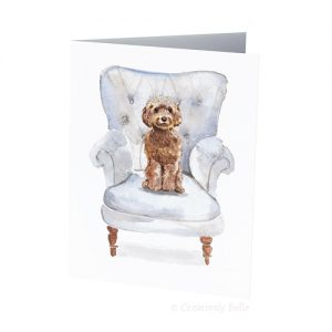 Tiara Princess Dog Winged Armed Chair Greeting Card Creatively Belle Printed in Australia