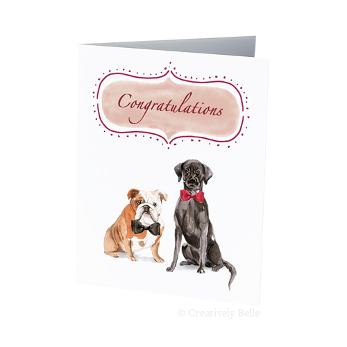 Two charming dogs wedding card