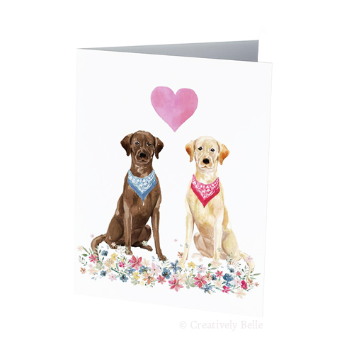 Two adorable labrador dogs - a brown lab and cream lab - greeting card