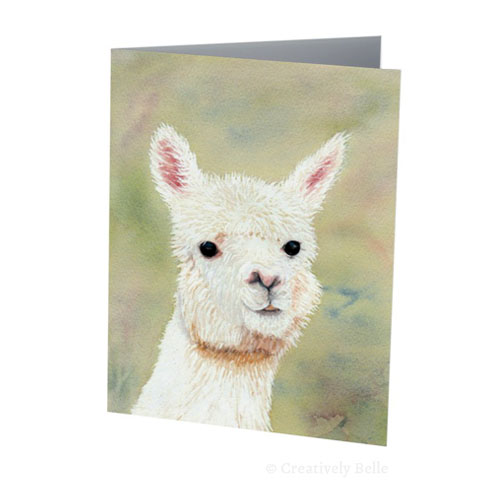 Original Alpaca watercolour painting by Belinda Stinson of Creatively Belle
