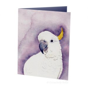 The curious cockatoo painted by Belinda Stinson of Creatively