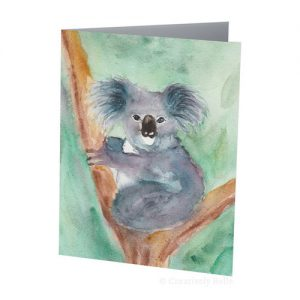Australian Koala in Watercolour Greeting Card original painting by Belinda of Creatively Belle