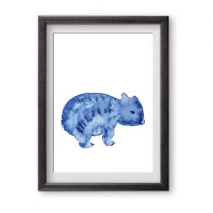 Blue and White watercolour wombat is ready for framing