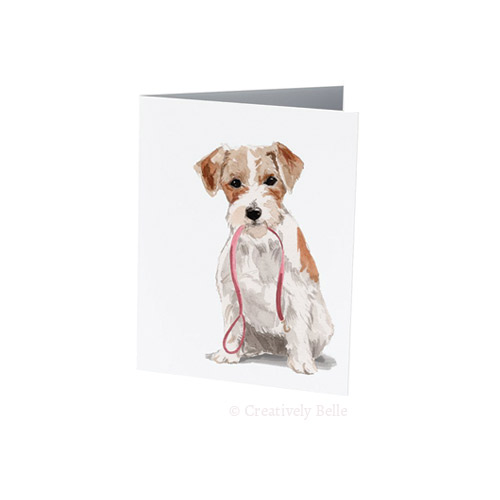 Wire haired Jack Russell terrier with leash designed by Creatively Belle