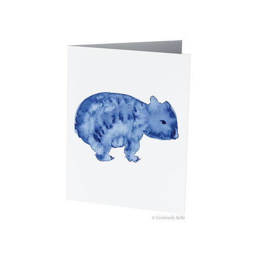 Watercolour Blue Wombat Greeting Card