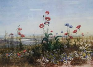 a distant view of Derry through wildflowers 1830s by Andrew Nicholl