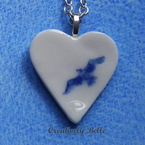 Blue and White heart albatross necklace
