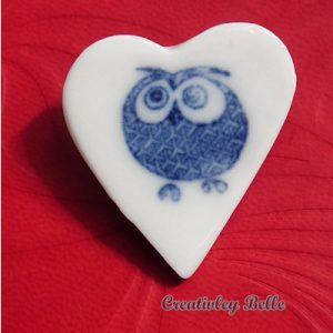 Blue and White Porcelain Owl Brooch