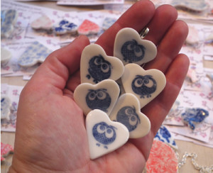 Blue and white owl brooches and pins