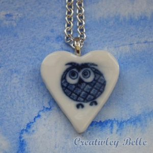 Blue and white porcelain owl necklace for the collector and little girl in all of us!