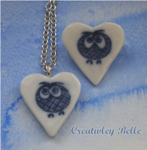 Blue and white porcelain owl necklace and brooch