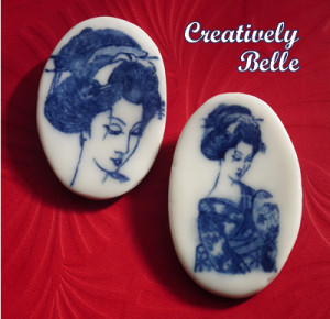 Celebrating cross cultural influences with these Geisha brooches made from Southern Ice porcelain
