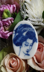 Inner peace and serenity with this cameo Geisha long necklace