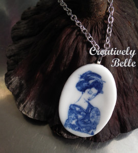 Geisha necklace with lotus seed pod