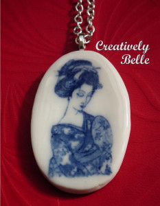 Beautiful Geisha Necklace in Southern Ice Porcelain
