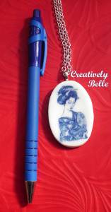 Long necklace with geisha pendant