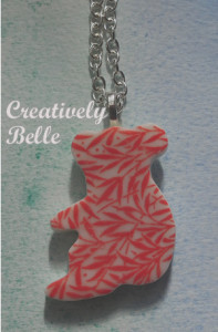 Vibrant coral red koala long necklace made in Australia