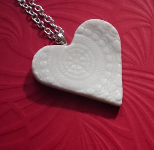 Artisan ceramic pendants for long chain necklaces