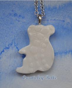 Australian made white koala necklace