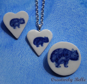 Maria's Wombat family in porcelain