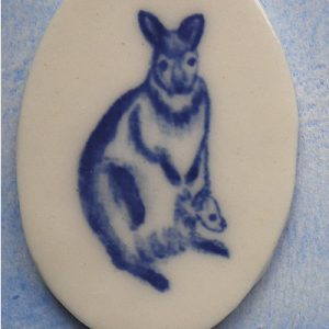 Hand painted kangaroo with her joey
