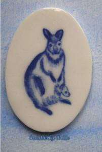 Kangaroo and Joey painted jewellery by Belinda