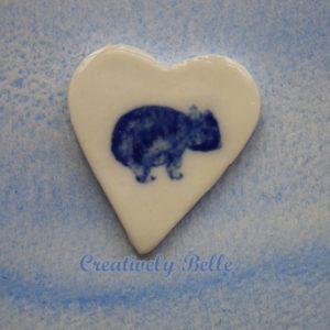 Maria the Wombat Brooch by Creatively Belle in Southern Ice Porcelain