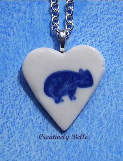 Wombat in a Heart Necklace
