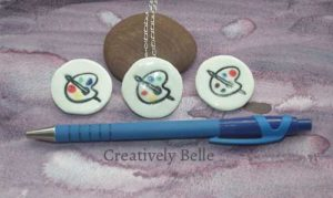 Artist palette size reference for duo brooch and necklace by Creatively Belle
