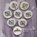 Artist palette necklaces and brooches by Creatively Belle