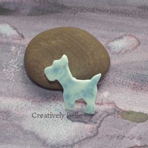 Blossom blue and white dog brooch by Creatively Belle