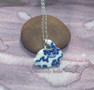 Blue and white porcelain bunny rabbit necklace by Creatively Belle