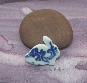 Bunny brooch pin in blue and white ceramic jewellery by Creatively Belle