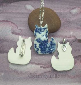 Cat front and back necklace and brooch collection ceramic jewellery by Creatively Belle at The Rocks Markets in Sydney