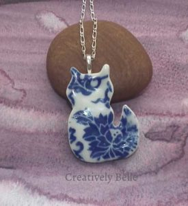 Cat necklace ceramic jewellery by Creatively Belle at The Rocks Markets in Sydney