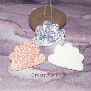 Cloud collection in duo necklace and brooch handmade ceramic jewellery by Belinda of Creatively Belle