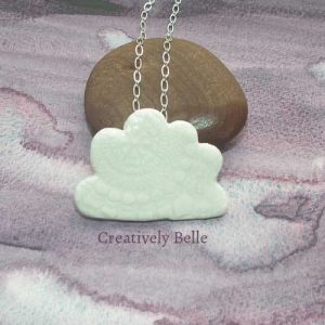 Cloud duo necklace and brooch handmade ceramic jewellery by Belinda of Creatively Belle