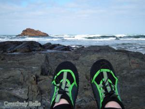Belinda in her adventure shoes at Arthur River