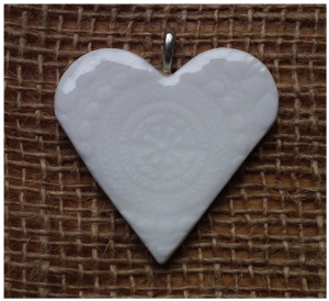 Artisan porcelain heart pendant in Southern Ice porcelain by Creatively Belle