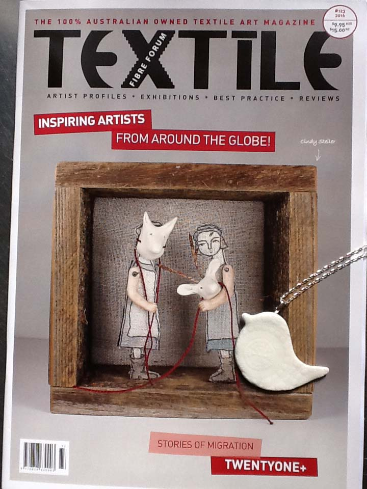 The beautiful cover of the Textile Fibre Forum Magazine that features Creatively Belle