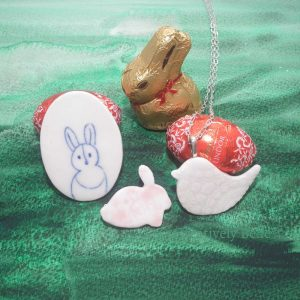 Easter bunny chocolate vs ceramic jewellery by Creatively Belle at The Rocks Markets
