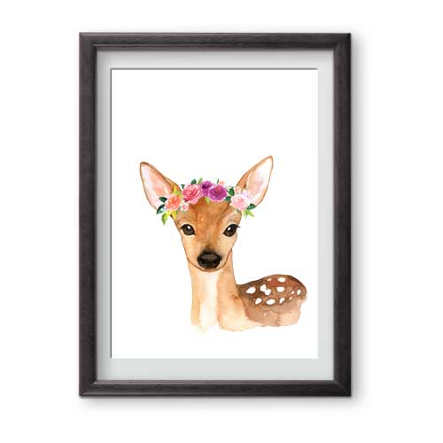 This charming floral deer is ready for framing and is perfect for a forest theme