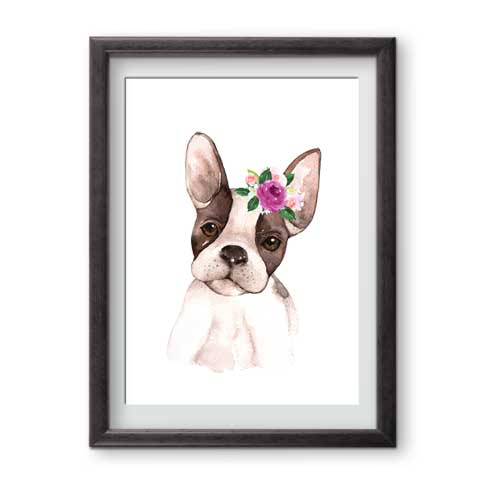 Ready for framing wall art print French Bulldog is perfect