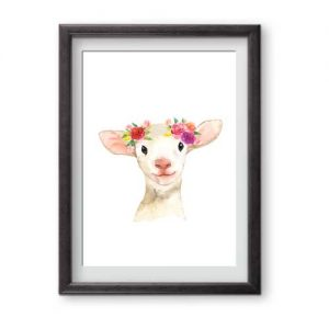 Fabulous floral lamb print, ready for framing perfect for nurseries