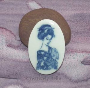 Geisha brooch blue and white handmade ceramic jewellery by Creatively Belle at The Rocks Markets