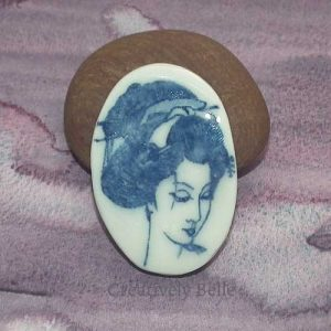 Geisha profile brooch blue and white handmade ceramic jewellery by Creatively Belle at The Rocks Markets