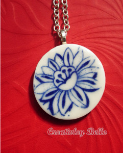 Wildflower blue and white porcelain flower necklace is vibrant