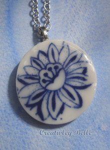 Wildflower blue and white porcelain flower long necklace