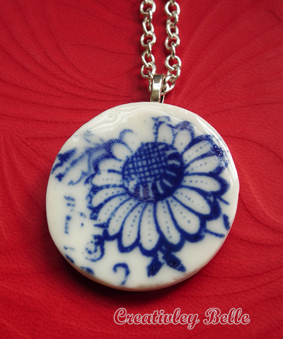 Blue and white flower porcelain necklace