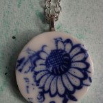 Blue and white porcelain flower long necklace